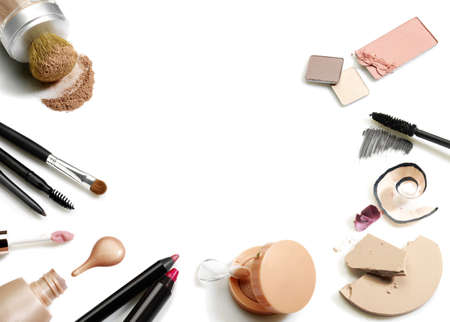 blush: Set of cosmetics. Studio photo of makeup accessories on white background.