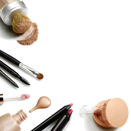 beauty make up: Set of cosmetics. Studio photo of makeup accessories on white background.