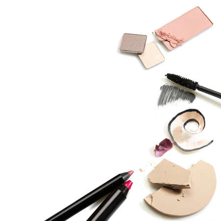 Set of cosmetics. Studio photo of makeup accessories on white background.