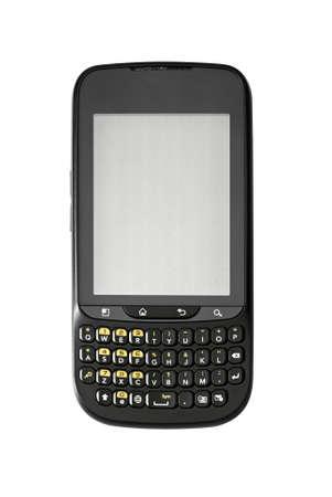 Studio photo of new smart phone, isolated on white background.