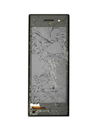 Damaged new smart phone.  Studio photo, isolated on white.