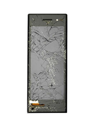 gprs:  Damaged new smart phone.  Studio photo, isolated on white.
