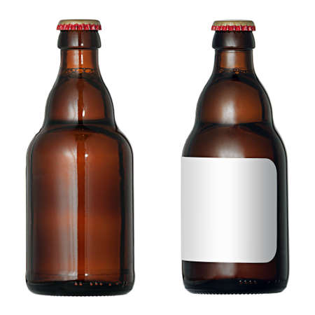 A beer bootle with blank labels, isolated on white background. Stock Photo