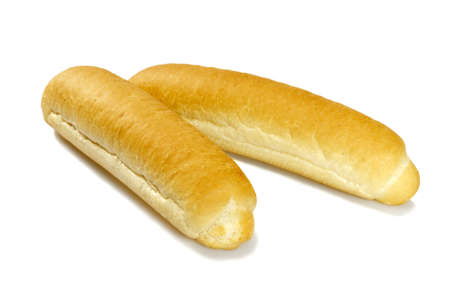Studio photo of fresh baguette on a white background