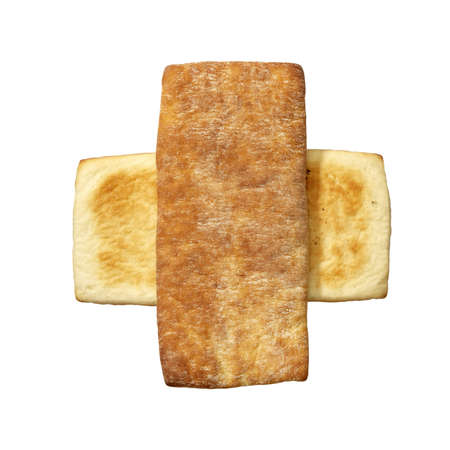 Studio photo of fresh bread on a white background.