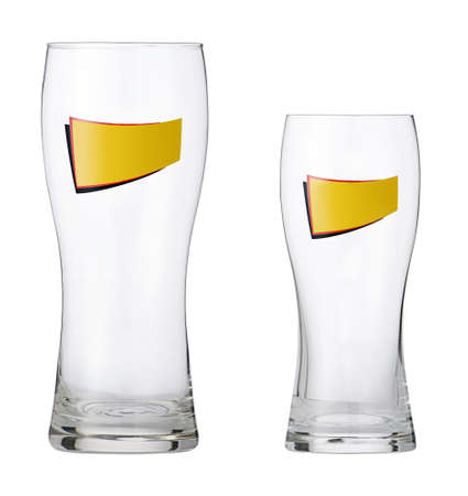 Studio photo of two empty beer glasses isolated on white background.