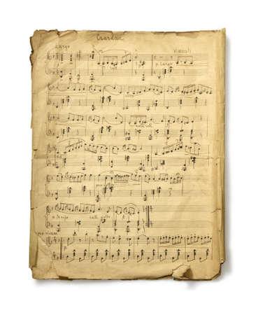 classical music: De studio foto handgeschreven van oude misicial notities op witte achtergrond. Retro
