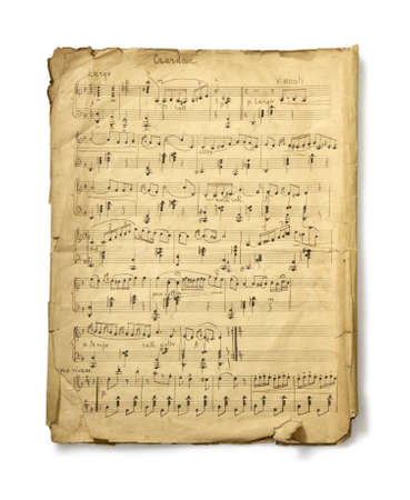 manuscrita: The studio photo of old handwritten misicial notes on white background. Retro Banco de Imagens