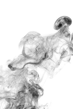 photographic effects: Black smoke isolated on white background  Stock Photo