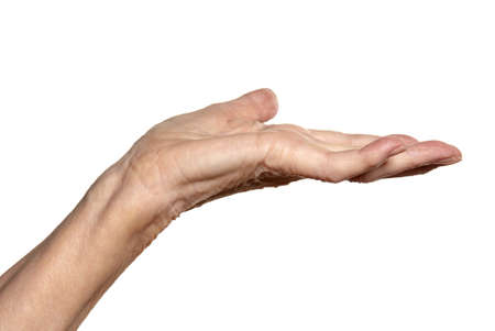 cut wrist: Studio shot of female hand  Isolated on white background