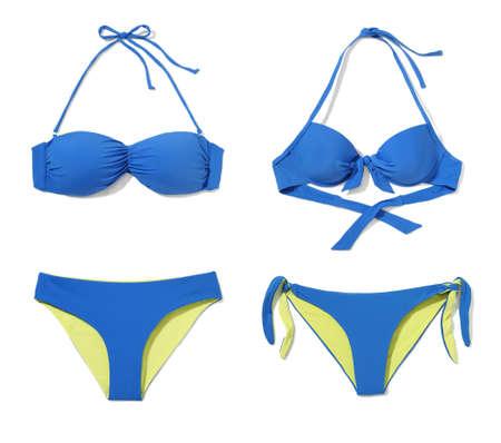 Studio shot of two part bikini isolated on white background