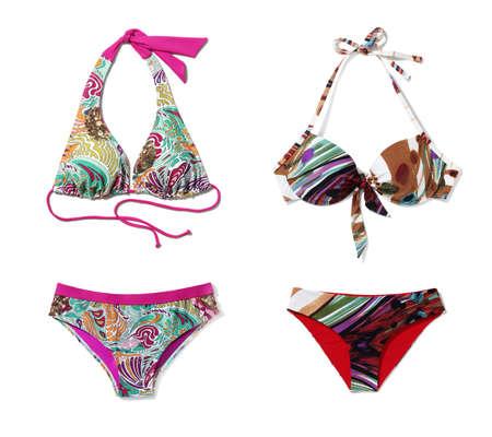 bikini bottom: Tiro del estudio de la segunda parte bikini aislado sobre fondo blanco