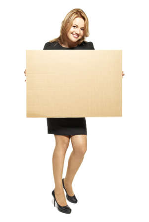 cardboard only: Attractive  Young Woman Holding Up a Blank Paperboard  Studio shot of woman isolated on white background