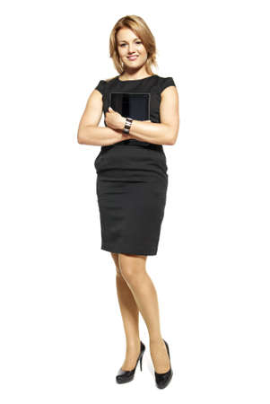 Studio shot of attractive  woman in a black dress  Portrait of businesswoman isolated on white background  photo