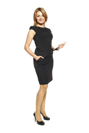 Studio shot of attractive  woman in a black dress  Portrait of businesswoman isolated on white background  Stock Photo