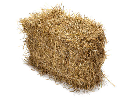 hay bales: Studio shot of hay, isolated on white  Stock Photo