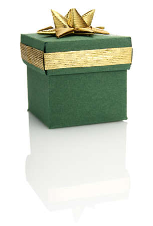 Studio shot of green gift box with gold decoration Stock Photo - 17623384