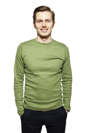 personable: Studio shot of young man against a white background