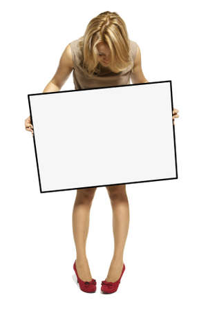 Attractive Young Woman Holding Up a Blank Sign  Studio shot of woman isolated on white background  Stock Photo