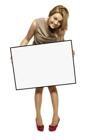 Attractive Young Woman Holding Up a Blank Sign  Studio shot of woman isolated on white background Stock Photo - 17958243