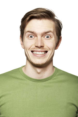 agreeable: Portrait of young man. Facial expression. Funny face.