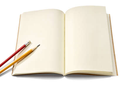 Notebook and pencil isolated on white background  Copy Space to write something  photo