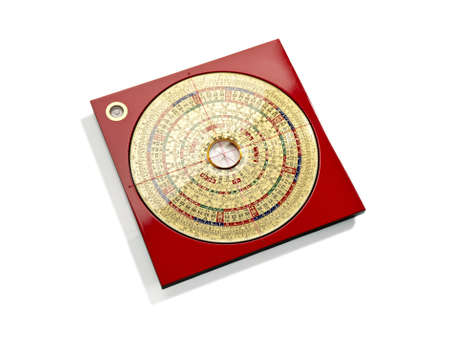 Chinese Feng Shui compass on white background