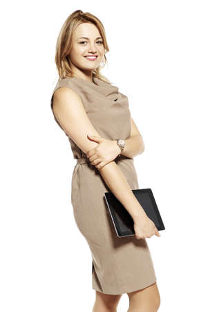 Attractive young businesswoman with digital tablet  Studio shot  photo
