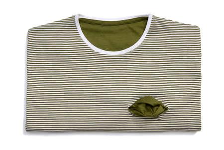 Studio shot of striped T-shirt on white background   photo