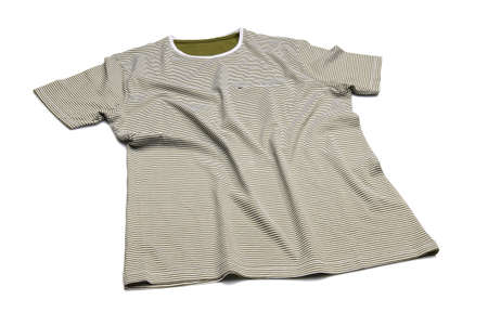Studio shot of striped T-shirt on white background   Stock Photo