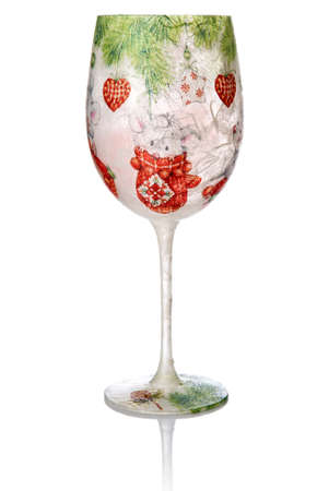 Christmas decoupage on the wine glass  Christmas decoration  photo