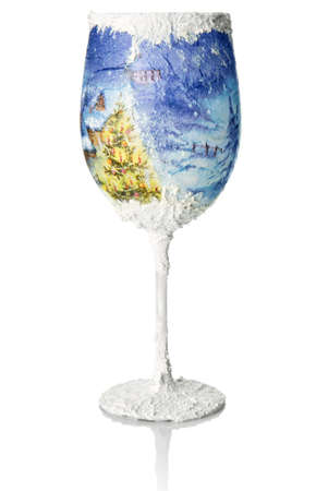 wine glass christmas: Christmas decoupage on the wine glass  Christmas decoration