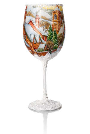 wine glass christmas: Christmas decoupage on the wine glass  Christmas decoration   Winter View  Stock Photo