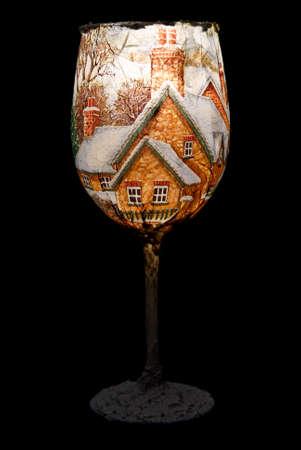 wine glass christmas: Christmas decoration on the wine glass  Christmas decoration  Stock Photo