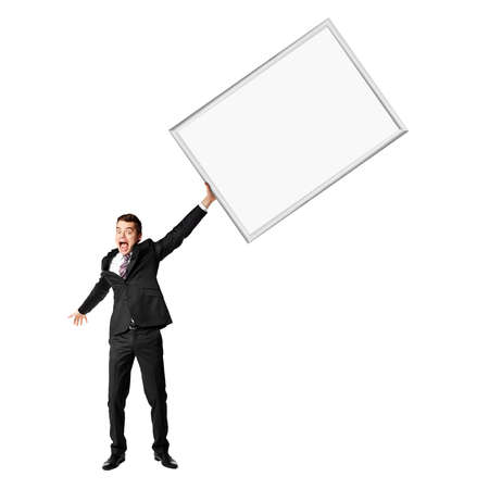 26 30 years: Young man holding a blank placard against white background  Copy Space  Stock Photo