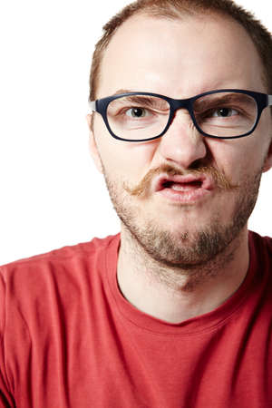 Portrait of a mad man with mustache. Facial expression. Stock Photo