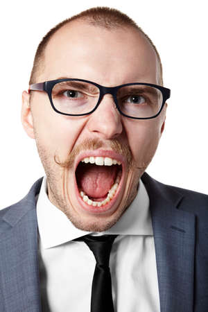 Portrait of an angry businessman. Facial expression. photo