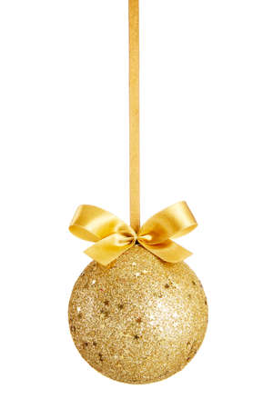 christmas bauble: Gold Christmas ball with bow isolated on white background