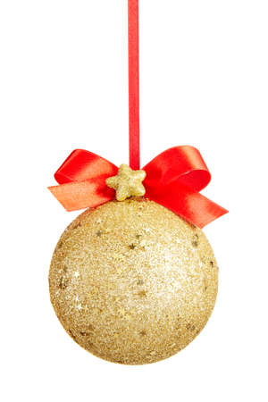 star path: Gold Christmas ball with bow isolated on white background