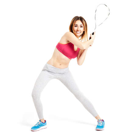 Female tennis player waiting for a first ball. Stock Photo