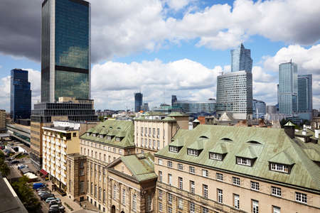 Old residences and modern office buildings at Warsaw city center.