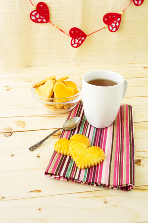 recipe decorated: Cookies in the Shape of Hearts with Cup of Tea