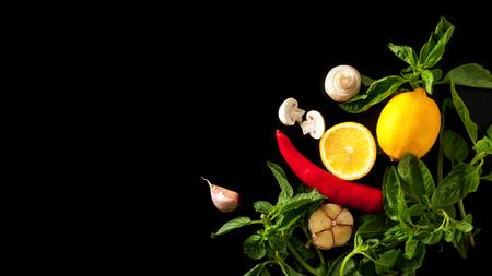 Fresh lemon, basil, garlic, hot chili pepper and spices on dark background Standard-Bild - 109905519