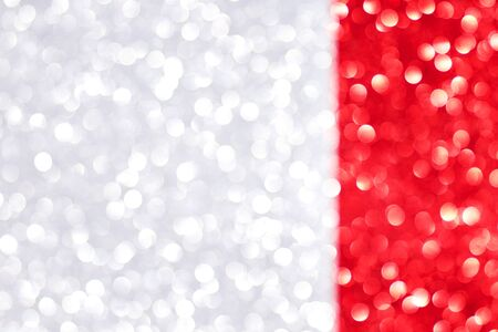 Silver and red defocused glitter backround with place for text. 스톡 콘텐츠