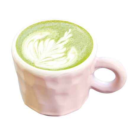 Ceramic cup of matcha latte with beautiful foam. Isolated over white background.
