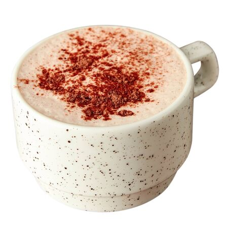 Cup of hot chocolate with milk foam and sprinkled with cocoa. Isolated over white background.