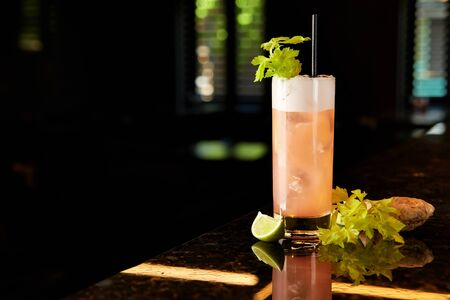 Glass of refreshing cocktail with celery, lime and ginger decorated with fresh celery leaves