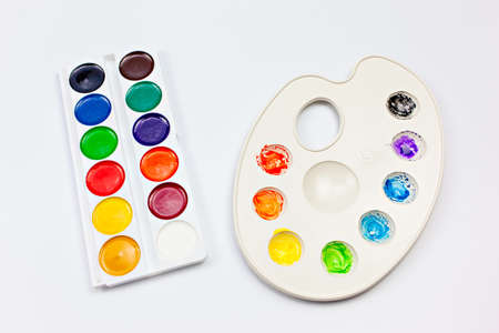 Watercolor palettes on white background