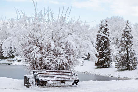 The bench is covered with snow in the winter park Standard-Bild - 140372783