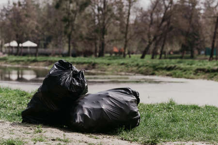 Bags with garbage. Spring cleaning in the park
